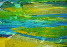 蓝绿色泥泞的斑点,油漆水彩创造性的背景 免版税库存图片