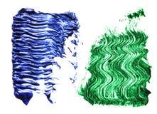 蓝绿色颜色染睫毛油在背景的刷子冲程 库存图片