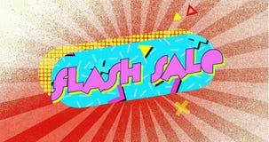 蓝胶囊形状及散射条状红色背景的移动元素的Flash销售图形 皇族释放例证