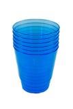 蓝色一次性玻璃 免版税库存图片