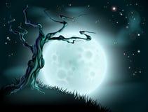 蓝色万圣夜月亮树背景 免版税库存照片