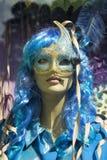 蓝色万圣夜服装的时装模特妇女 库存图片
