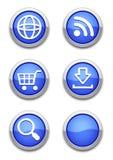 蓝色万维网图标 库存照片