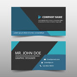 蓝色三角公司业务卡片,名片模板,水平的简单的干净的布局desigess卡片,名片模板, 库存例证