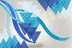 蓝色三角和波浪,抽象背景 免版税图库摄影