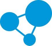 蓝色三角圈子原子 免版税库存照片