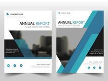 蓝色三角标签年终报告小册子飞行物设计模板传染媒介,传单盖子介绍摘要平的背景, 库存例证