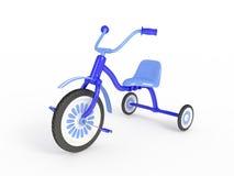 蓝色三轮车查出的3d回报 免版税库存照片