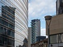 蓝色上色地区财务摩天大楼 库存照片