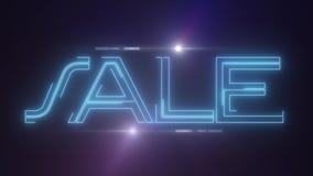蓝色与发光的轻的光学火光动画的lazer霓虹销售文本在黑背景-新的质量减速火箭的葡萄酒 皇族释放例证
