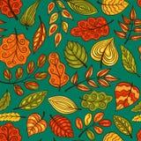 蓝色与叶子的动画片手拉的无缝的样式 库存图片