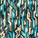 蓝色与难看的东西作用的技术无缝的样式 库存照片