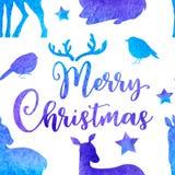 蓝色与鹿和鸟的传染媒介水彩冬天无缝的样式 向量例证