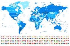 蓝色世界地图和旗子-边界、国家和城市-例证 皇族释放例证