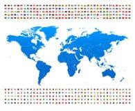 蓝色世界地图和旗子-边界、国家和城市-例证 向量例证