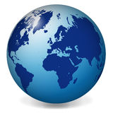 蓝色世界地球地图 免版税库存图片