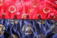 蓝色中国传统costu红色的表面 库存图片