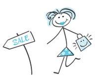 蓝色乱画女孩销售额 库存图片
