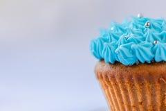 蓝色乳蛋糕杯形蛋糕,糖果店,甜材料 免版税图库摄影