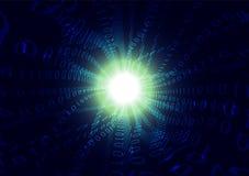 蓝色二进制编码蒸汽波浪摘要背景,计算机科技通信概念 免版税图库摄影