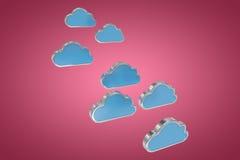 蓝色云彩的综合图象塑造在白色背景3d 免版税库存照片