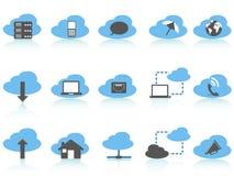 蓝色云彩计算的图标系列设置了简单 免版税库存图片