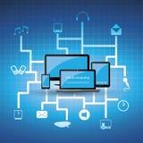蓝色云彩计算的概念 库存图片