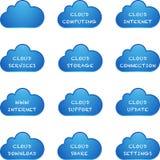 蓝色云彩计算的集 库存图片