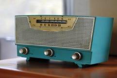 蓝色五十年代收音机 免版税图库摄影