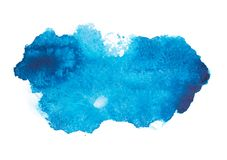 蓝色五颜六色的抽象手凹道水彩 免版税库存图片