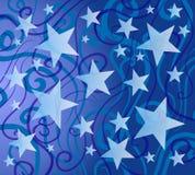 蓝色五颜六色的模式星形 向量例证