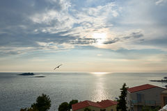 蓝色亚得里亚海海晚上,克罗地亚 免版税库存照片