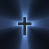 蓝色交叉火光圣洁轻的符号 免版税图库摄影