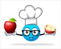 蓝色人厨师用苹果 免版税库存图片