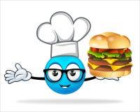 蓝色人厨师用薄饼汉堡 免版税库存照片