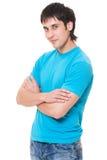 蓝色人衬衣面带笑容t 免版税库存图片