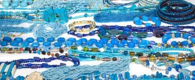 蓝色人造珠宝 库存照片