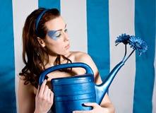 蓝色从事园艺 图库摄影
