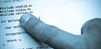 蓝色代码语言编程的色彩 免版税库存图片