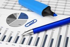 蓝色企业图表 免版税库存图片
