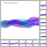 蓝色企业波浪小册子模板集合 向量例证