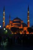 蓝色伊斯坦布尔清真寺晚上火鸡 免版税图库摄影