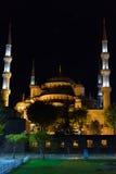 蓝色伊斯坦布尔清真寺晚上火鸡 图库摄影