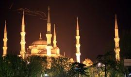 蓝色伊斯坦布尔清真寺晚上 免版税库存图片