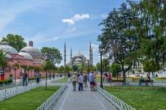 蓝色伊斯坦布尔清真寺海边火鸡查阅 免版税库存图片