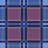 蓝色伐木工人 传统格子呢 无缝的苏格兰格子花呢披肩方格的传染媒介样式 皇族释放例证
