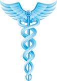 蓝色众神使者的手杖医疗符号 免版税库存照片