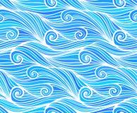 蓝色传染媒介卷曲波浪无缝的样式 免版税库存图片