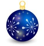 蓝色传染媒介圣诞节球 库存图片
