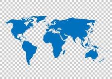 蓝色传染媒介地图 世界地图空白 世界地图模板 在栅格的背景的世界地图 库存例证